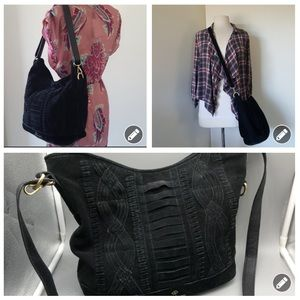 Nanette Lepore crossbody black suede hobo bag